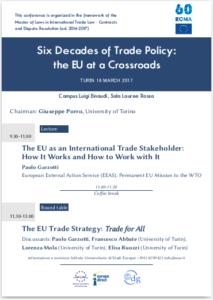 Locandina Conferenza: Six Decades of Trade Policy: the EU at a Crossroads
